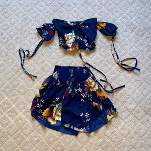 Two piece floral matching set